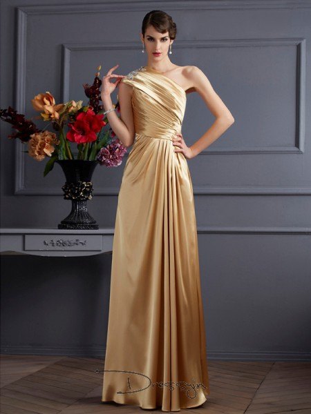 A-Line/Princess Sleeveless One-Shoulder Beading Elastic Woven Satin Floor-Length Dress