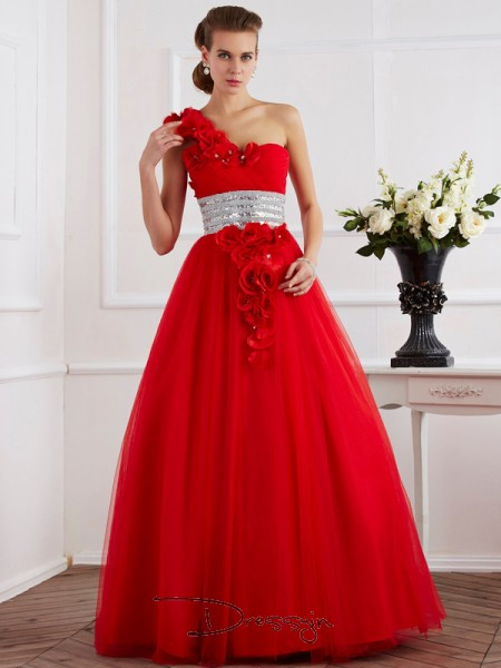 Ball Gown Sleeveless One-Shoulder Hand-Made Flower Beading Net Floor-Length Dress