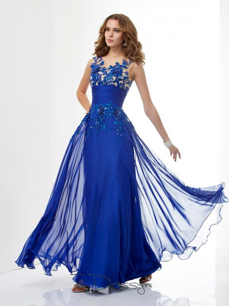 A-Line/Princess Sleeveless High Neck Beading Applique Chiffon Floor-Length Dress