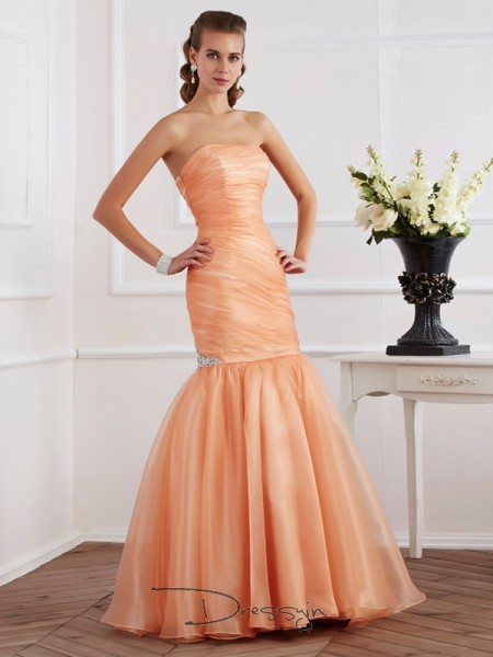 Trumpet/Mermaid Sleeveless Strapless Beading Tulle Floor-Length Dress