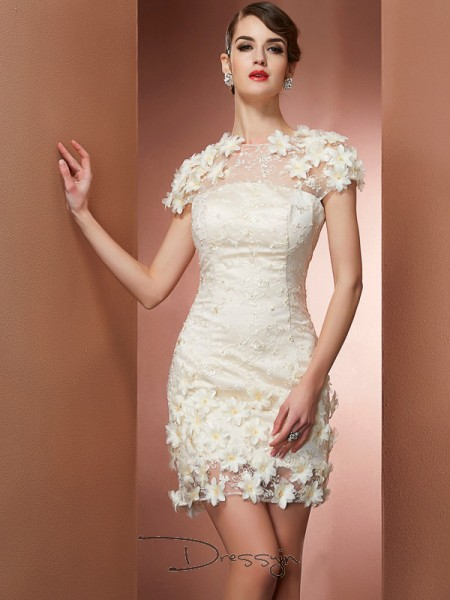 Sheath/Column Short Sleeves High Neck Satin Lace Short Dress