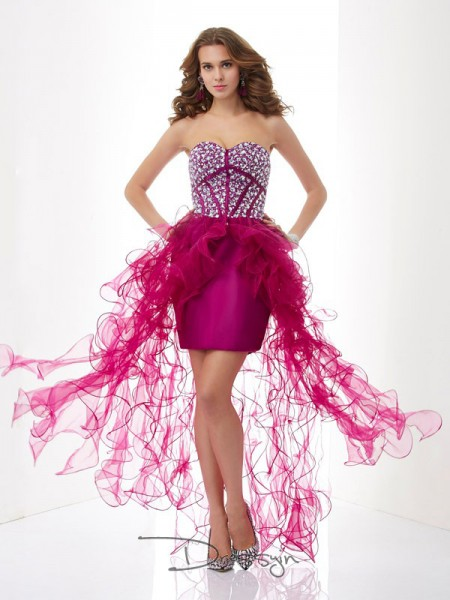Sheath/Column Sleeveless Sweetheart Beading Elastic Woven Satin Tulle Short Dress