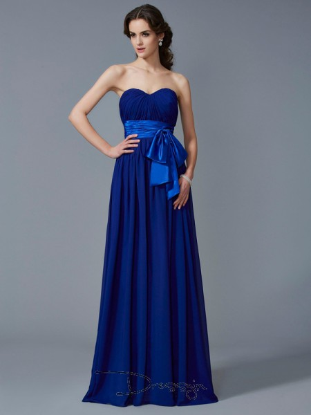 A-Line/Princess Sleeveless Sweetheart Pleats Chiffon Floor-Length Dress