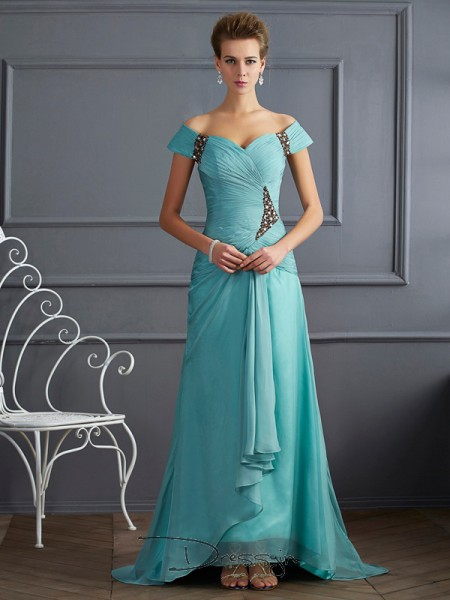 A-Line/Princess Sleeveless Off-the-Shoulder Beading Chiffon Long Dress