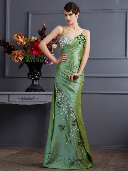 Trumpet/Mermaid Sleeveless Spaghetti Straps Beading Taffeta Floor-Length Dress