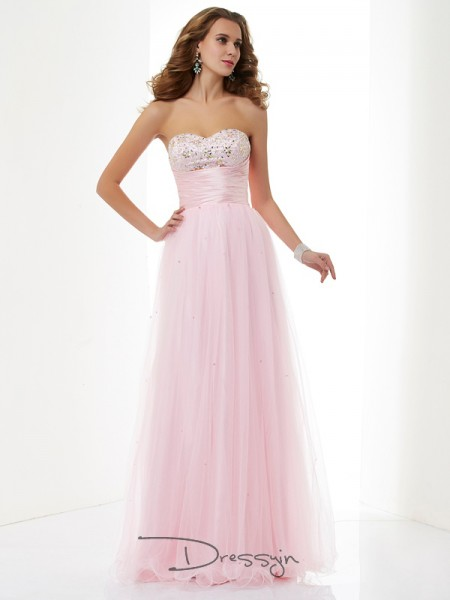 A-Line/Princess Sleeveless Sweetheart Beading Elastic Woven Satin Net Floor-Length Dress