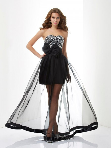 A-Line/Princess Sleeveless Sweetheart Beading Organza Floor-Length Dress