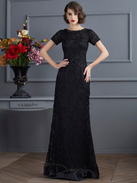 Sheath/Column Short Sleeves High Neck Lace Elastic Woven Satin Lace Floor-Length Dress