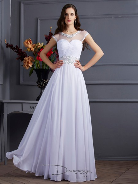 A-Line/Princess Short Sleeves Bateau Beading Chiffon Floor-Length Dress