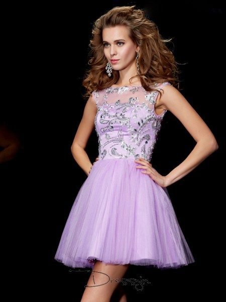 A-Line/Princess Short Sleeves Bateau Beading Satin Short Dress
