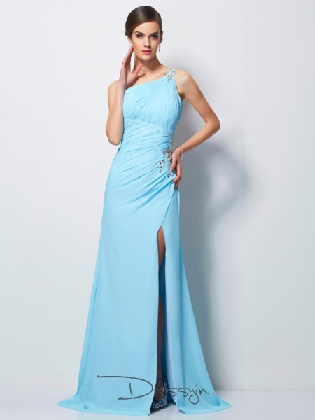 Sheath/Column Sleeveless One-Shoulder Beading Chiffon Long Dress