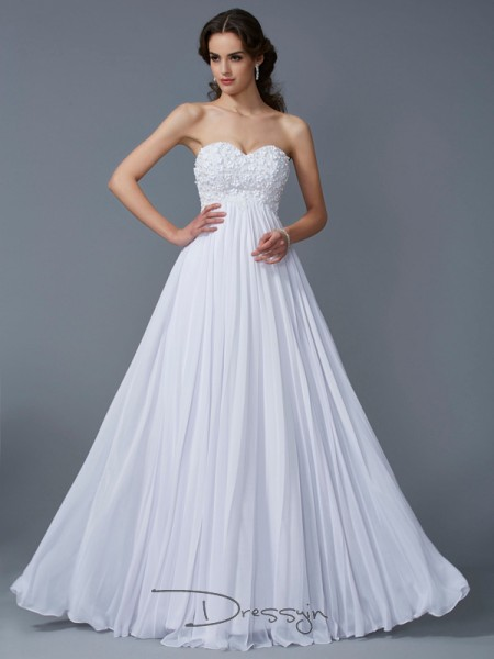 A-Line/Princess Sleeveless Sweetheart Ruffles Chiffon Floor-Length Dress
