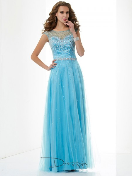 Sheath/Column Sleeveless High Neck Beading Net Floor-Length Dress