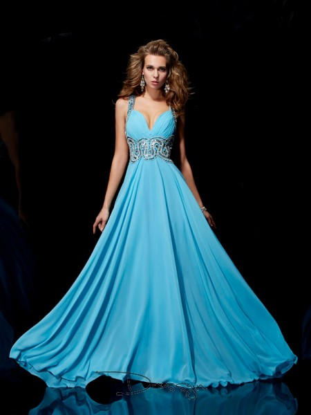 A-Line/Princess Sleeveless Straps Beading Chiffon Long Dress