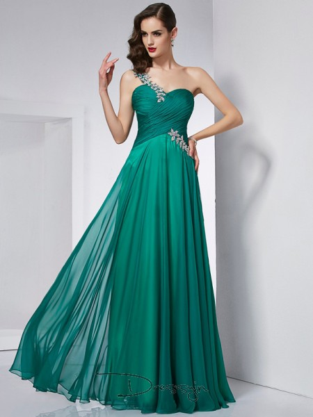 A-Line/Princess Sleeveless One-Shoulder Chiffon Floor-Length Dress