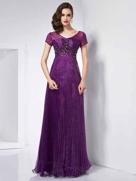 A-Line/Princess Short Sleeves V-neck Beading Organza Floor-Length Dress