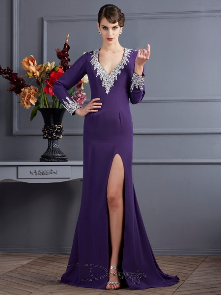 Trumpet/Mermaid Long Sleeves V-neck Beading Chiffon Long Dress