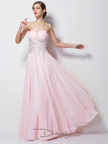 A-Line/Princess Sleeveless Sweetheart Beading Chiffon Floor-Length Dress