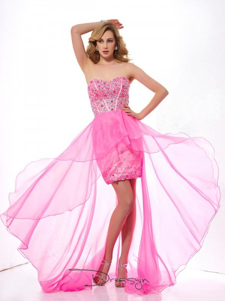 A-Line/Princess Sleeveless Sweetheart Beading Organza Asymmetrical Dress