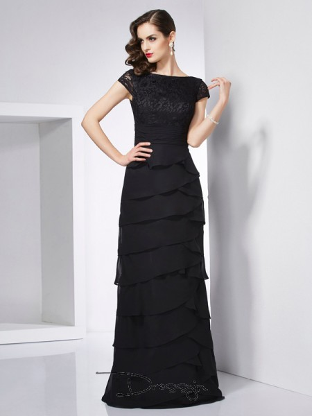Sheath/Column Short Sleeves Scoop Chiffon Floor-Length Dress