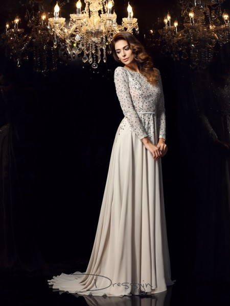 A-Line/Princess Scoop Long Sleeves Chiffon Beading Court Train Dress
