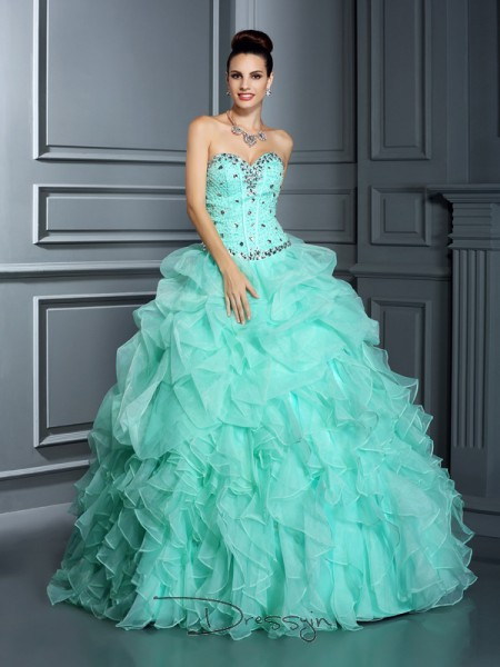 Ball Gown Sweetheart Sleeveless Organza Beading Long Dress