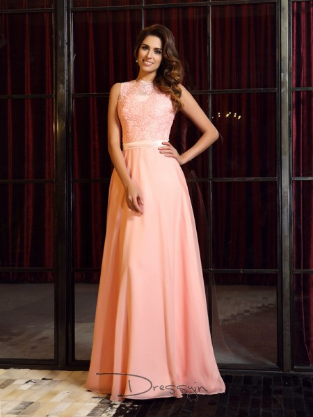 A-Line/Princess High Neck Sleeveless Chiffon Applique Long Dress