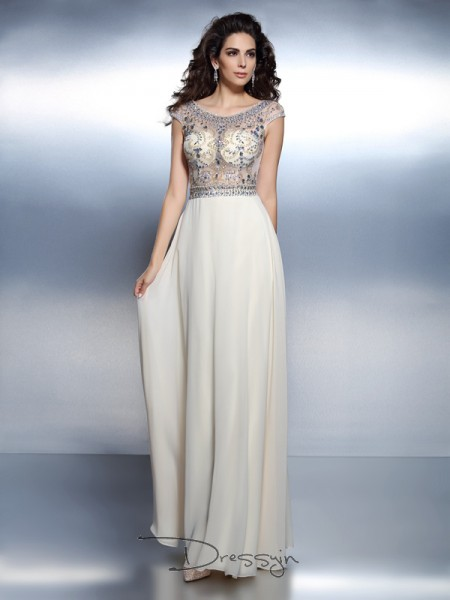 A-Line/Princess Bateau Short Sleeves Chiffon Beading Long Dress
