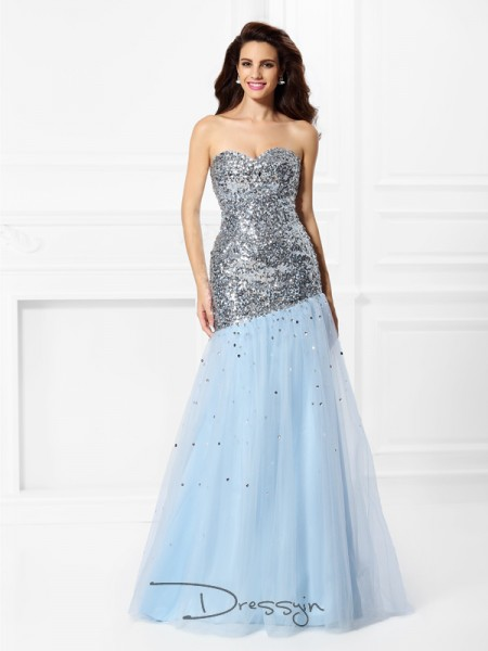Trumpet/Mermaid Sweetheart Sleeveless Satin Sequin Long Dress