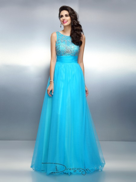 A-Line/Princess Bateau Sleeveless Elastic Woven Satin Beading Long Dress
