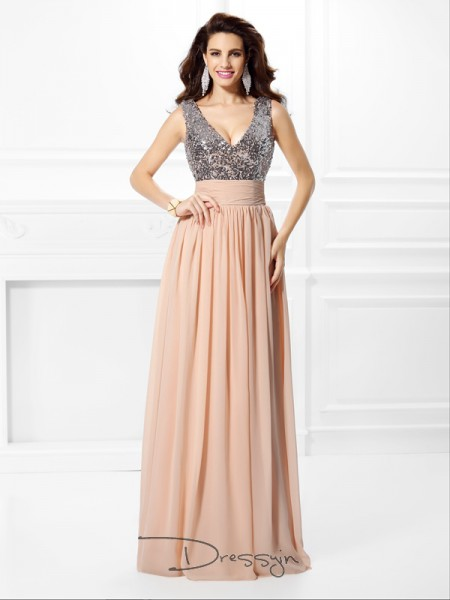 A-Line/Princess V-neck Sleeveless Chiffon Paillette Long Dress