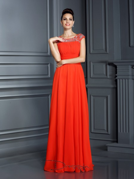 A-Line/Princess Bateau Sleeveless Chiffon Beading Long Dress