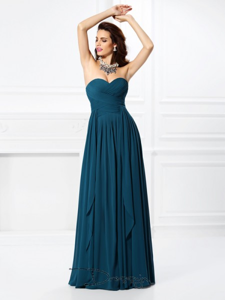 A-Line/Princess Sweetheart Sleeveless Chiffon Pleats Ruffles Long Dress