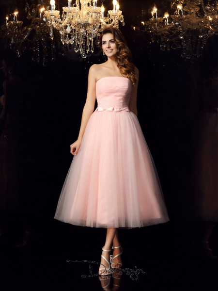 Ball Gown Strapless Sleeveless Satin Sash/Ribbon/Belt Tea-Length Dress