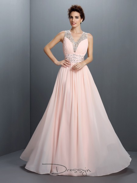 A-Line/Princess V-neck Sleeveless Chiffon Beading Long Dress