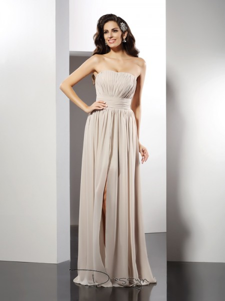 Sheath/Column Strapless Sleeveless Chiffon Pleats Long Dress
