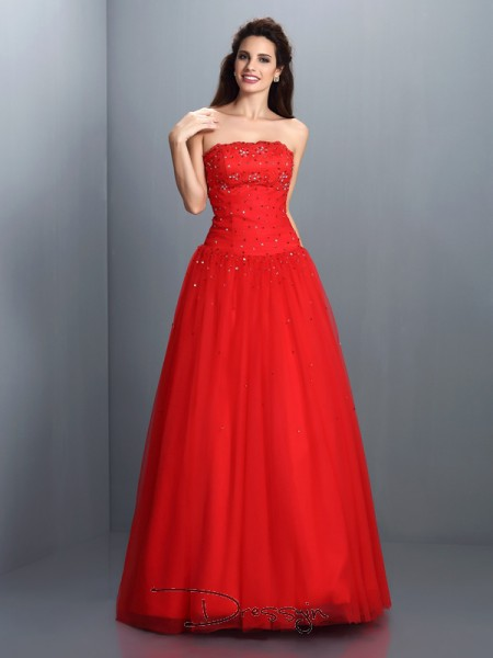Ball Gown Strapless Sleeveless Organza Beading Long Dress