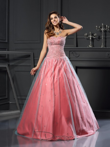 Ball Gown Sweetheart Sleeveless Satin Beading Long Dress