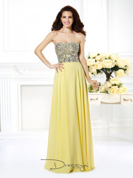 A-Line/Princess Strapless Sleeveless Chiffon Beading Rhinestone Long Dress