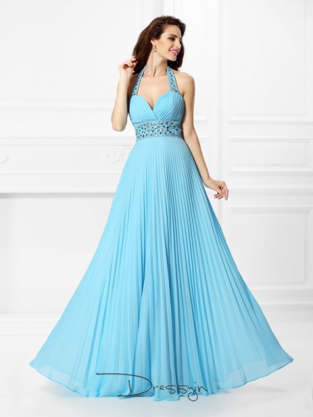 A-Line/Princess Halter Sleeveless Chiffon Rhinestone Long Dress