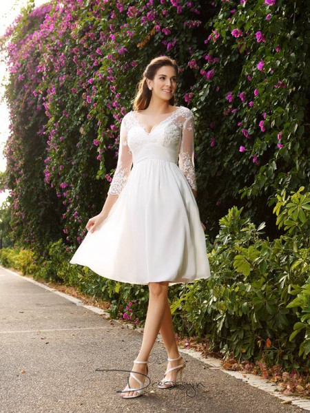 A-Line/Princess V-neck 3/4 Sleeves Chiffon Knee-Length Wedding Dress