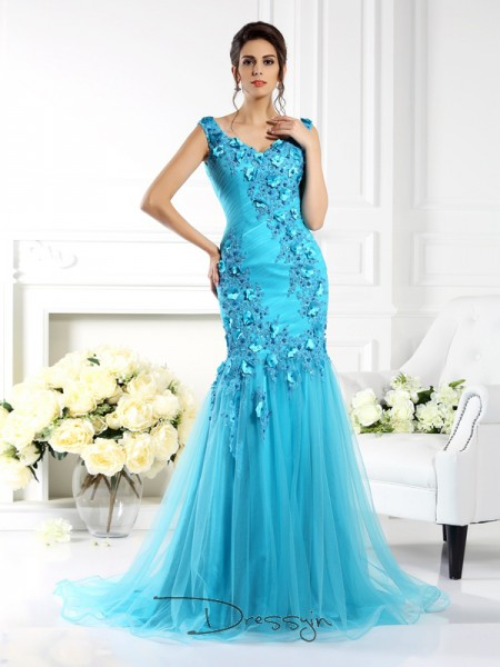 Trumpet/Mermaid Straps Sleeveless Silk like Satin Applique Long Dress