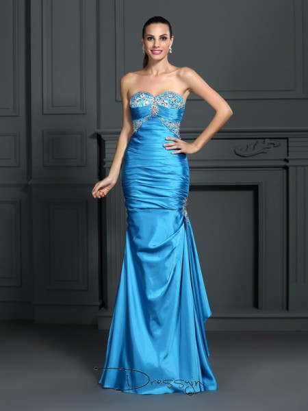 Trumpet/Mermaid Sweetheart Sleeveless Elastic Woven Satin Beading Long Dress