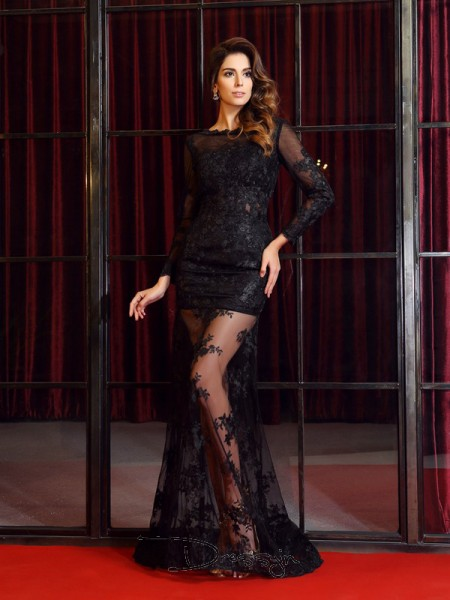 Trumpet/Mermaid Bateau Long Sleeves Lace Applique Long Dress