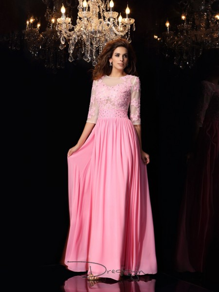A-Line/Princess Scoop 1/2 Sleeves Silk like Satin Applique Long Dress