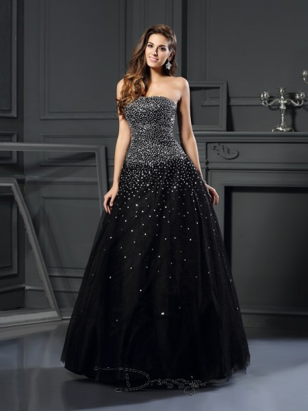 Ball Gown Strapless Sleeveless Satin Beading Long Dress