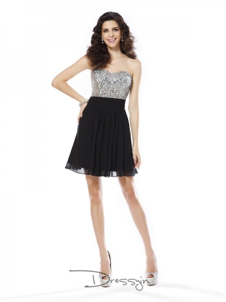 A-Line/Princess Sweetheart Sleeveless Chiffon Beading Short Dress