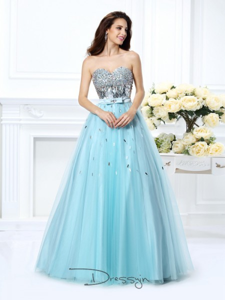 Ball Gown Sweetheart Sleeveless Satin Beading Paillette Long Dress
