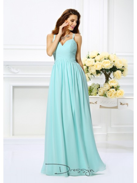 A-Line/Princess Spaghetti Straps Sleeveless Chiffon Pleats Long Dress