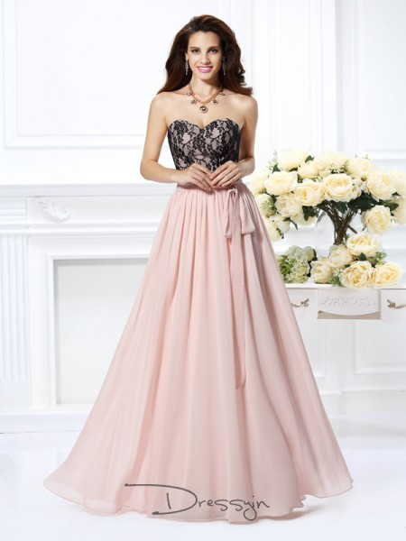 A-Line/Princess Sweetheart Sleeveless Chiffon Long Dress